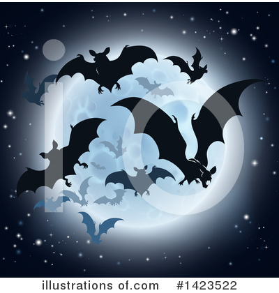 Flying Bat Clipart #1423522 by AtStockIllustration