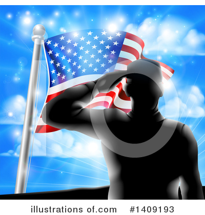 American Flag Clipart #1409193 by AtStockIllustration