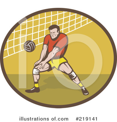 Royalty-Free (RF) Volleyball Clipart Illustration by patrimonio - Stock Sample #219141