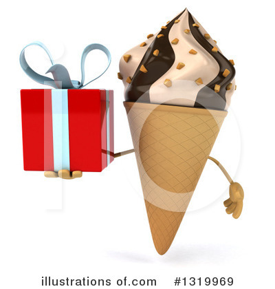Royalty-Free (RF) Waffle Ice Cream Cone Character Clipart Illustration by Julos - Stock Sample #1319969