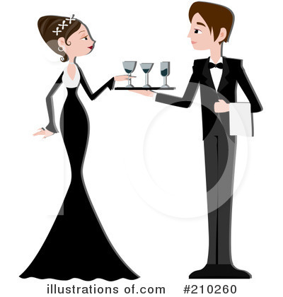 Royalty-Free (RF) Waiter Clipart Illustration by BNP Design Studio - Stock Sample #210260