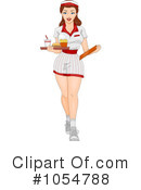 Royalty-Free (RF) waitress Clipart Illustration #1054788