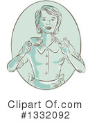 Royalty-Free (RF) Waitress Clipart Illustration #1332092