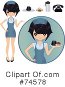 Royalty-Free (RF) Waitress Clipart Illustration #74578