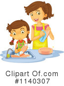 Royalty-Free (RF) washing dishes Clipart Illustration #1140307