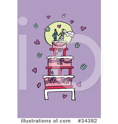 RoyaltyFree RF Wedding Cake Clipart Illustration by Lisa Arts Stock