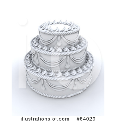 RoyaltyFree RF Wedding Cake Clipart Illustration by KJ Pargeter Stock