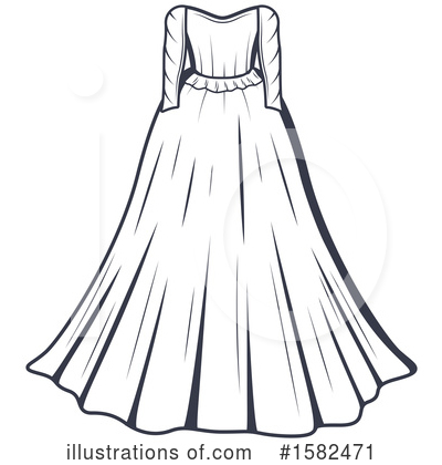 Wedding Dress Clipart #1582471 by Vector Tradition SM