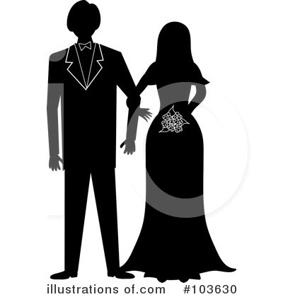 Royalty-Free (RF) Wedding Couple Clipart Illustration by Pams Clipart - Stock Sample #103630