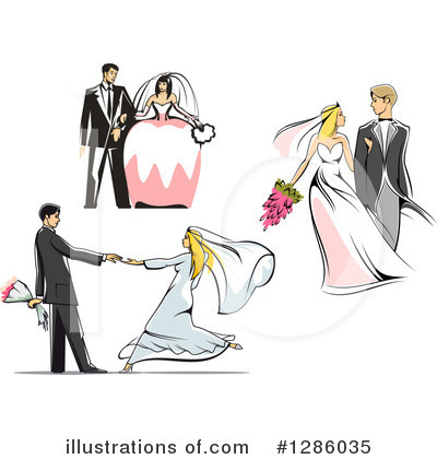 Royalty-Free (RF) Wedding Couple Clipart Illustration by Vector Tradition SM - Stock Sample #1286035