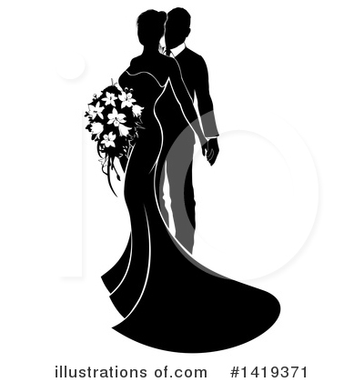 Wedding Couple Clipart #1419371 by AtStockIllustration