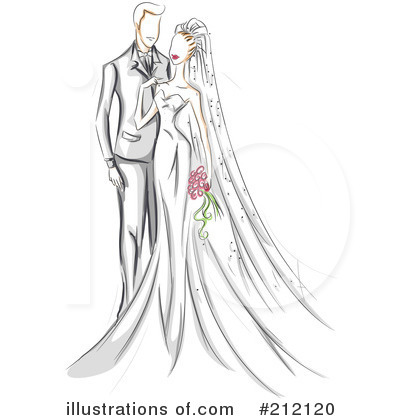 Royalty-Free (RF) Wedding Couple Clipart Illustration by BNP Design Studio - Stock Sample #212120