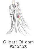 Royalty-Free (RF) Wedding Couple Clipart Illustration #212120
