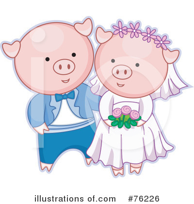 Royalty-Free (RF) Wedding Couple Clipart Illustration by BNP Design Studio - Stock Sample #76226