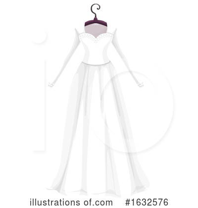 Royalty-Free (RF) Wedding Dress Clipart Illustration by Vector Tradition SM - Stock Sample #1632576