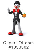 White And Black Clown Clipart #1333302 by Julos