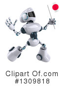 White And Blue Robot Clipart #1309818 by Julos
