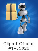 White And Blue Robot Clipart #1405028 by Julos