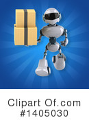 White And Blue Robot Clipart #1405030 by Julos