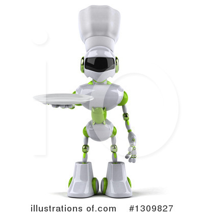 White And Green Robot Clipart #1309827 by Julos