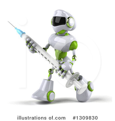 White And Green Robot Clipart #1309830 by Julos