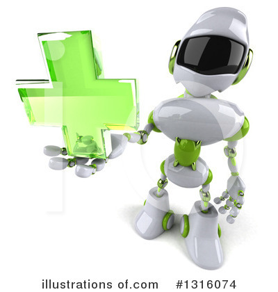 White And Green Robot Clipart #1316074 by Julos