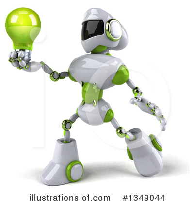 White And Green Robot Clipart #1349044 by Julos