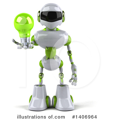 White And Green Robot Clipart #1406964 by Julos