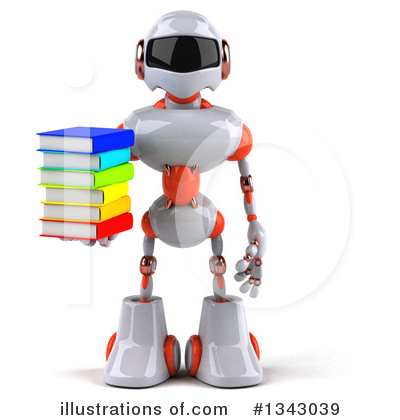 White And Orange Robot Clipart #1343039 by Julos