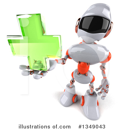 Royalty-Free (RF) White And Orange Robot Clipart Illustration by Julos - Stock Sample #1349043