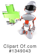 White And Orange Robot Clipart #1349043 by Julos