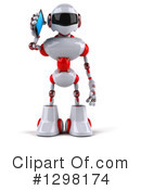 White And Red Robot Clipart #1298174 by Julos