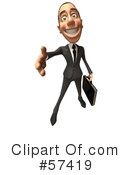 Royalty-Free (RF) White Corporate Businessman Character Clipart Illustration #57419