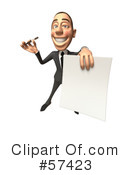 Royalty-Free (RF) White Corporate Businessman Character Clipart Illustration #57423
