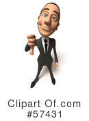 Royalty-Free (RF) White Corporate Businessman Character Clipart Illustration #57431