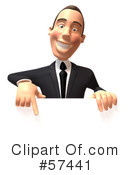 Royalty-Free (RF) White Corporate Businessman Character Clipart Illustration #57441