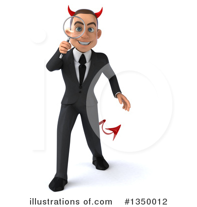 Royalty-Free (RF) White Devil Businessman Clipart Illustration by Julos - Stock Sample #1350012