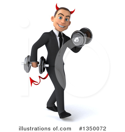 Royalty-Free (RF) White Devil Businessman Clipart Illustration by Julos - Stock Sample #1350072