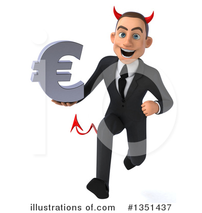 Royalty-Free (RF) White Devil Businessman Clipart Illustration by Julos - Stock Sample #1351437