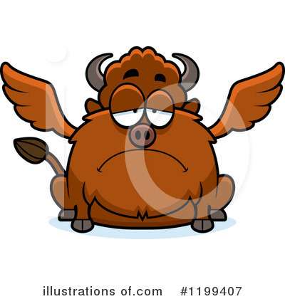 Winged Buffalo Clipart #1199407 by Cory Thoman