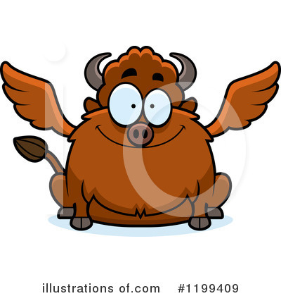 Winged Buffalo Clipart #1199409 by Cory Thoman