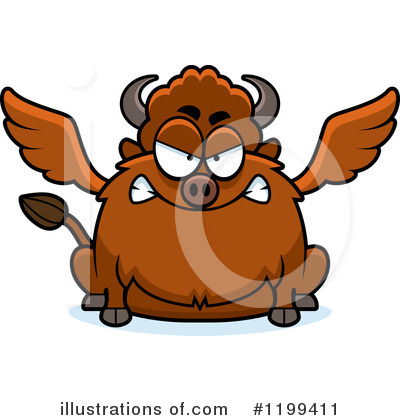 Winged Buffalo Clipart #1199411 by Cory Thoman