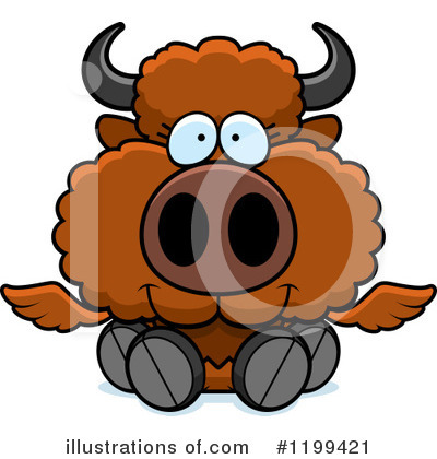 Winged Buffalo Clipart #1199421 by Cory Thoman