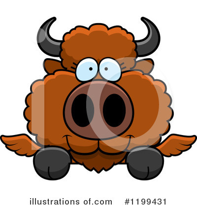 Winged Buffalo Clipart #1199431 by Cory Thoman