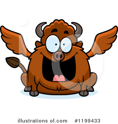 Winged Buffalo Clipart #1199433 by Cory Thoman