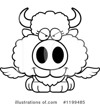 Royalty-Free (RF) Winged Buffalo Clipart Illustration by Cory Thoman - Stock Sample #1199485