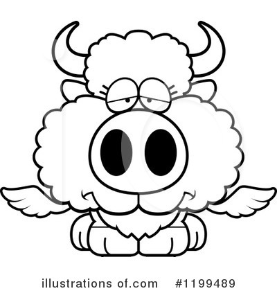 Royalty-Free (RF) Winged Buffalo Clipart Illustration by Cory Thoman - Stock Sample #1199489