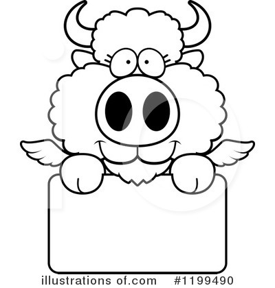 Royalty-Free (RF) Winged Buffalo Clipart Illustration by Cory Thoman - Stock Sample #1199490