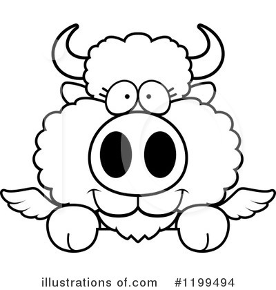 Royalty-Free (RF) Winged Buffalo Clipart Illustration by Cory Thoman - Stock Sample #1199494