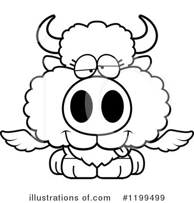 Royalty-Free (RF) Winged Buffalo Clipart Illustration by Cory Thoman - Stock Sample #1199499